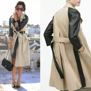 ZARA Trench Coat with Faux Leather Sleeves